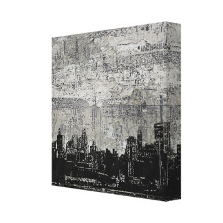 Grungy Urban City Scape Black White Stretched Canvas Prints