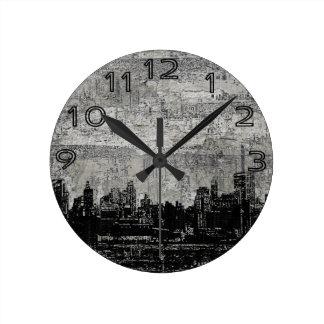 Grungy Urban City Scape Black White Round Wallclocks