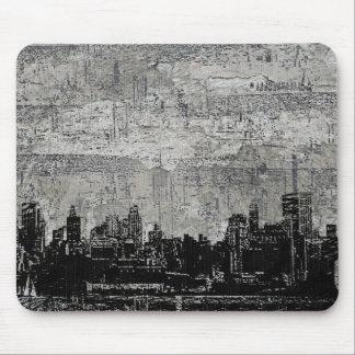 Grungy Urban City Scape Black White Mouse Pad