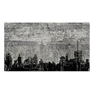 Grungy Urban City Scape Black White Pack Of Standard Business Cards