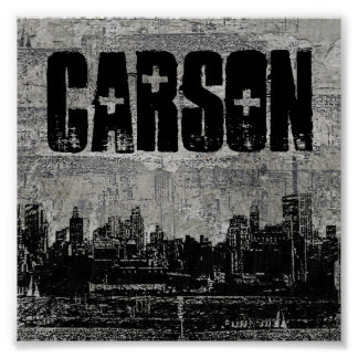 Grungy Urban City Scape Black White Posters