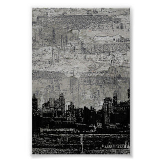 Grungy Urban City Scape Black White Poster