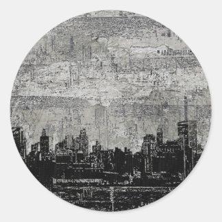 Grungy Urban City Scape Black White Round Sticker