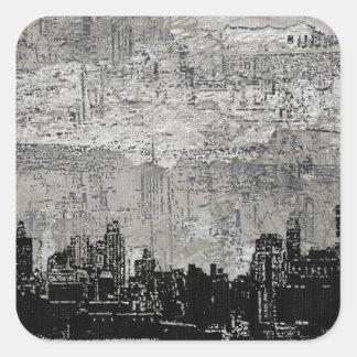 Grungy Urban City Scape Black White Square Sticker