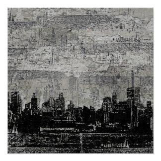 Grungy Urban City Scape Black White Perfect Poster