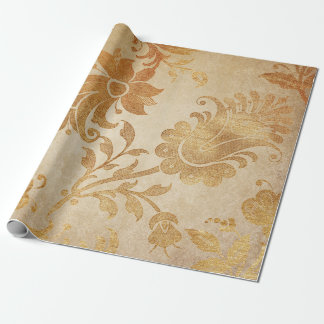 Grungy Vintage Gold Floral Cart Wrapping Paper