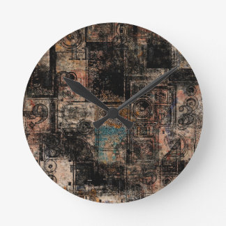 Grungy Vintage Speakers Collage Wall Clocks