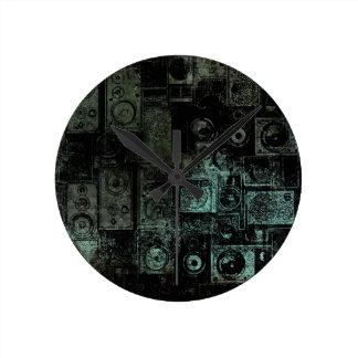 Grungy Vintage Speakers Teal Collage Round Clocks