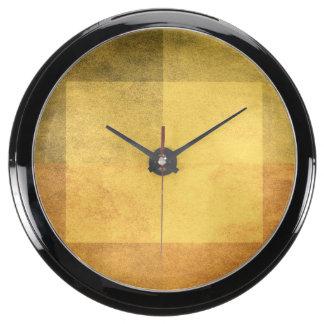 grungy watercolor-like graphic abstract 2 fish tank clock