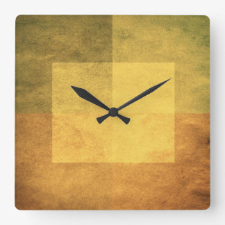 grungy watercolor-like graphic abstract 2 square wall clock