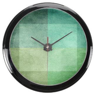 grungy watercolor-like graphic abstract 3 fish tank clock