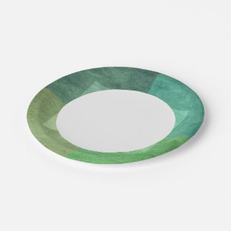 grungy watercolor-like graphic abstract 3 paper plate