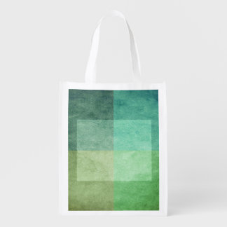 grungy watercolor-like graphic abstract 3 reusable grocery bag