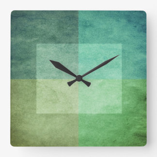 grungy watercolor-like graphic abstract 3 square wall clock