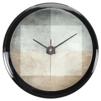 grungy watercolor-like graphic abstract fish tank clock
