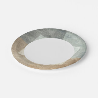 grungy watercolor-like graphic abstract paper plate