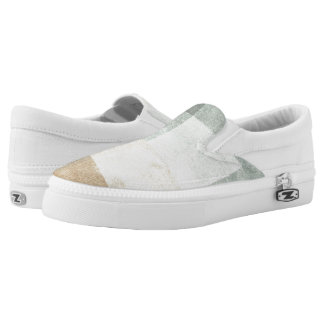 grungy watercolor-like graphic abstract slip on shoes