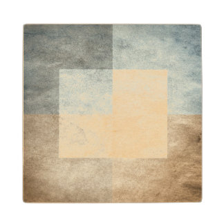 grungy watercolor-like graphic abstract wood coaster
