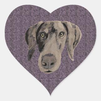 Grungy weimaraner heart sticker