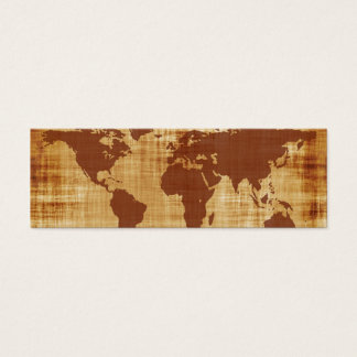 Grungy World Map Textured Mini Business Card