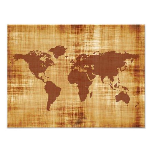 Grungy World Map Textured Photograph