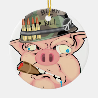 GRUNT PIG Double-Sided CERAMIC ROUND CHRISTMAS ORNAMENT