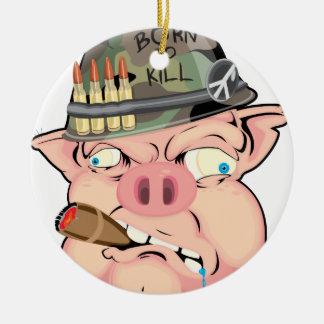 GRUNT PIG ROUND CERAMIC DECORATION