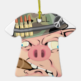 GRUNT PIG Double-Sided T-Shirt CERAMIC CHRISTMAS ORNAMENT