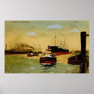 Gruss aus Hamburg, Hafen Vintage Poster