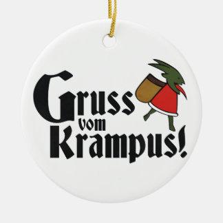 Gruss Vom Krampus Round Ceramic Decoration