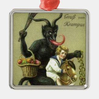 Gruss Vom Krampus Silver-Colored Square Decoration