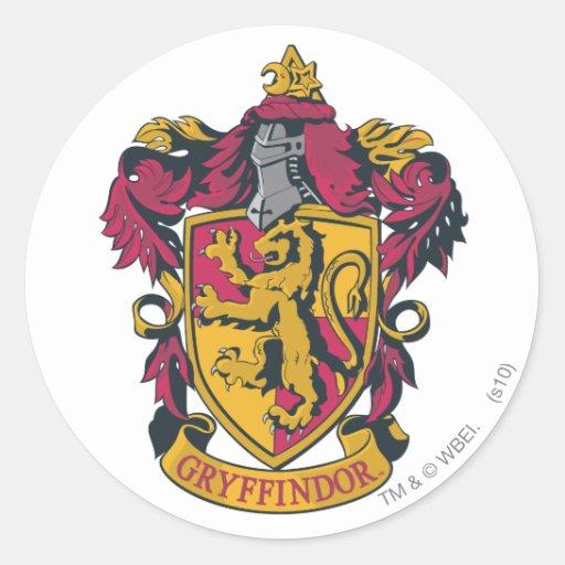 Gryffindor crest red and gold round sticker