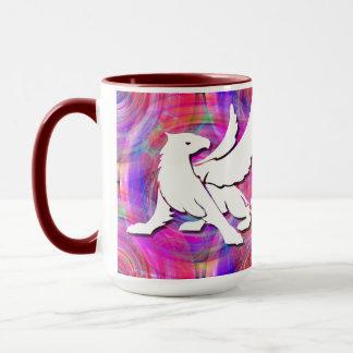 Gryphon on swirl two-tone mug