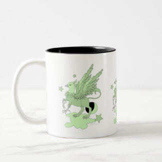 Gryphon or Griffin Green Two-Tone Coffee Mug