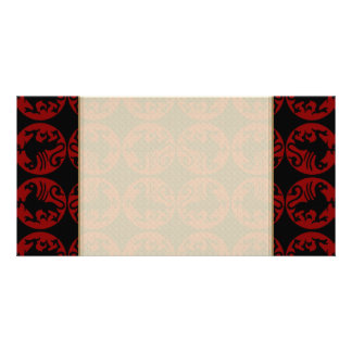 Gryphon Silhouette Pattern - Red and Black Personalized Photo Card