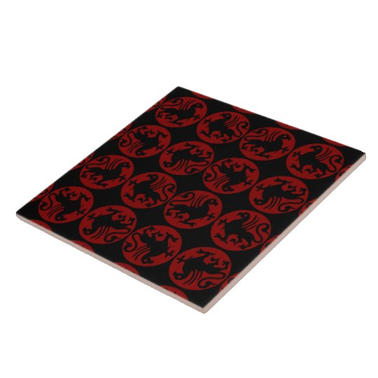 Gryphon Silhouette Pattern - Red and Black Tile