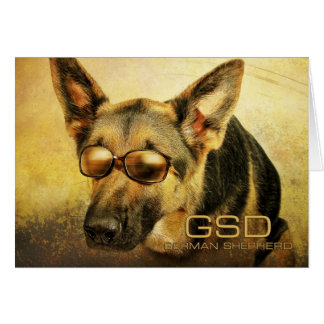 GSD_glasses-8x10 Greeting Card