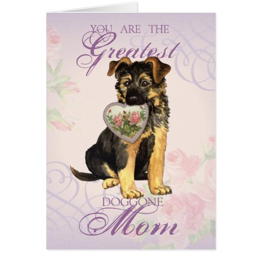 GSD Heart Mom Greeting Cards