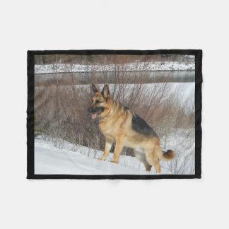 GSD in Winter Snow Fleece Blanket