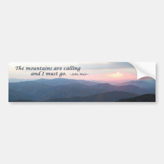GSMNP Sunset: Mountains are calling/J Muir Bumper Sticker