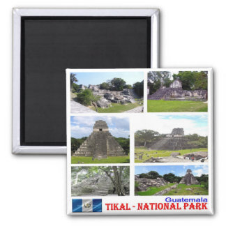 GT Guatemala Tikal National Park - Collage Mosaic Square Magnet
