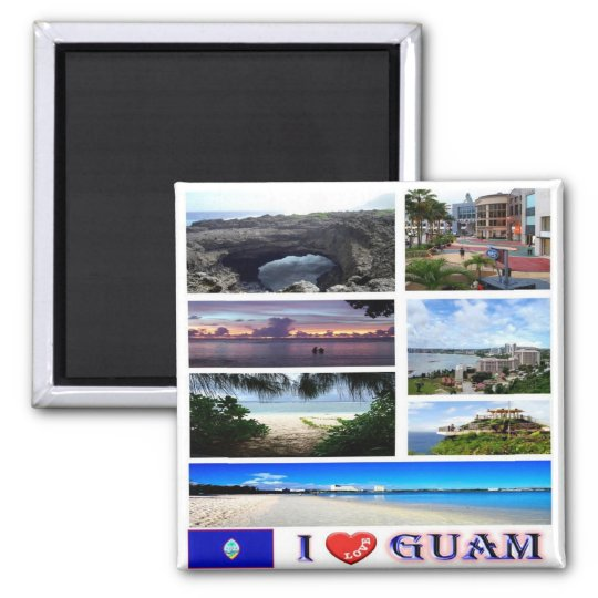 GU - Guam - I Love Square Magnet