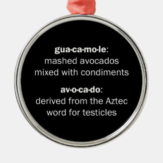 Guacamole Testicles Silver-Colored Round Decoration