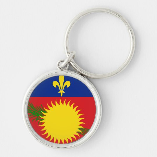 Guadeloupe Flag Silver-Colored Round Key Ring