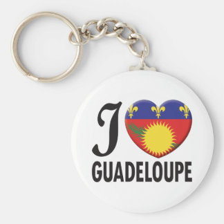 Guadeloupe Love Basic Round Button Key Ring