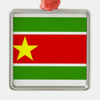 Guadelupe Flag Square Metal Christmas Ornament