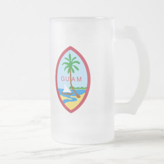 Guam coat of arms frosted glass beer mug