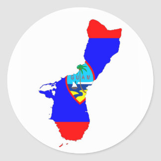 guam country flag map shape silhouette classic round sticker