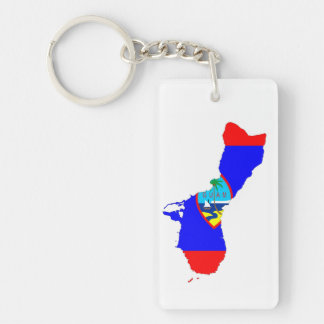 guam country flag map shape silhouette key ring