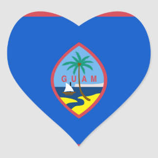 Guam Flag GU Heart Sticker